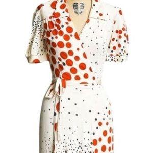 Dresses & Skirts - Silk polka dot wrap dress